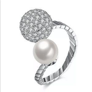 Fresh Water Pearl & Swarovski Crystal Ring